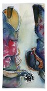 Cowboy Boots In Watercolor Good Ride Bath Towel