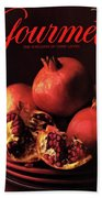 Gourmet Cover Featuring A Plate Of Pomegranates Bath Towel