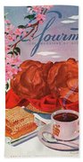 Gourmet Cover Illustration Of A Basket Of Popovers Bath Towel