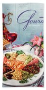 Gourmet Cover Illustration Of A Plate Of Antipasto Hand Towel
