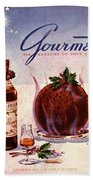Gourmet Cover Illustration Of Flaming Chocolate Bath Towel