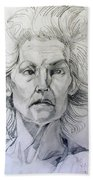 Graphite Portrait Sketch Of A Well Known Cross Eyed Model Bath Towel