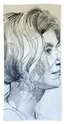 Portrait Drawing Of A Woman In Profile Bath Towel