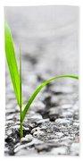 Grass In Asphalt Bath Towel