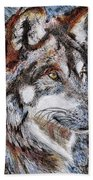 Gray Wolf Watches And Waits Bath Towel