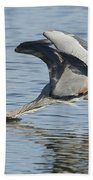 Great Blue Heron Fishing Bath Towel