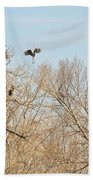 Great Blue Heron Nest Building 1 Bath Towel