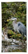 Great Blue Heron On Log Hand Towel