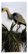 Great Blue Heron On Palm Bath Towel