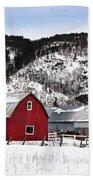 Great Canadian Red Barn In Winter Bath Towel