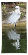 Great Egret In The Lake Bath Towel