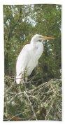 Great Egret Lookout Bath Towel