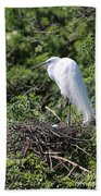 Great Egret Nest Bath Towel