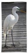Great Egret On The Pier Bath Towel