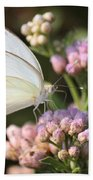 Great Southern White Butterfly On Pink Flowers Bath Towel