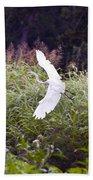 Great White Egret Flying 2 Bath Towel