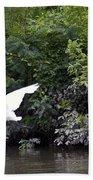 Great White Egret Flying 3 Bath Towel