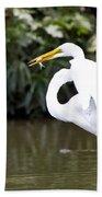Great White Egret Show Off Bath Towel
