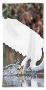 Great White Egret Splash 1 Bath Towel