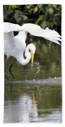 Great White Egret Wingspan And Turtles Bath Towel
