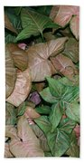 Green And Brown Leaves Bath Towel
