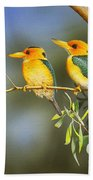 Green And Gold - Yellow-billed Kingfishers Bath Towel