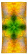 Green Heart Rainbow Light Mandala Bath Towel