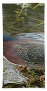 Green Heron On The Lookout Bath Towel