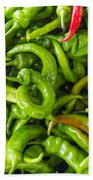 Green Hot Peppers Hand Towel