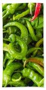 Green Hot Peppers Bath Towel