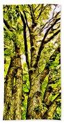 Green Leafy Trees Bath Towel