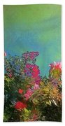 Green Sky With Pink Bougainvillea - Square Bath Towel