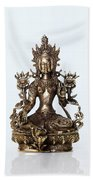 Green Tara Goddess Statue Bath Towel