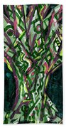 Green Tree With Pink Watercolor Bath Towel