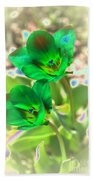 Green Tulips Bath Towel