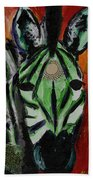 Green Zebra Stripes  Bath Towel