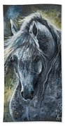 Grey Arabian Horse Oil Painting 2 Bath Towel