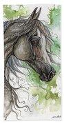 Grey Arabian Horse Watercolor Painting 1 Bath Towel