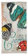 Grey Postcard Butterflies 2 Bath Towel