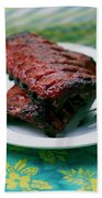 Grilled Ribs On A White Plate Hand Towel