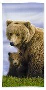 Grizzly Bear And Cub Bath Towel