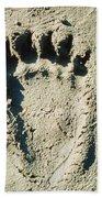 Grizzly Bear Track In Soft Mud. Bath Towel