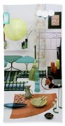 Group Of Furniture And Decorations In 1960 Colors Hand Towel