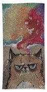 Grumpy Cat And Her Colorful Dreams Bath Towel