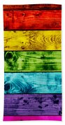 Grunge Colorful Wood Planks Background Bath Towel