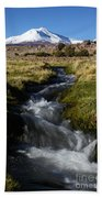Guallatiri Volcano And Mountain Stream Bath Towel