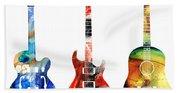 Guitar Threesome - Colorful Guitars By Sharon Cummings Hand Towel