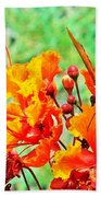 Gulf Fritillary Butterfly On Pride Of Barbados Bath Towel