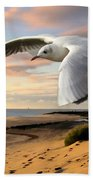 Gull On The Wing Over Beach Landscape Bath Towel