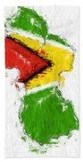 Guyana Painted Flag Map Bath Towel